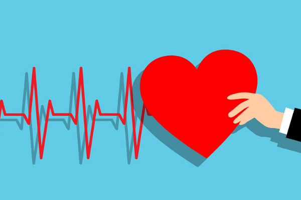 A colourful heart beat with a love heart being held to the right by a cartoon hand.