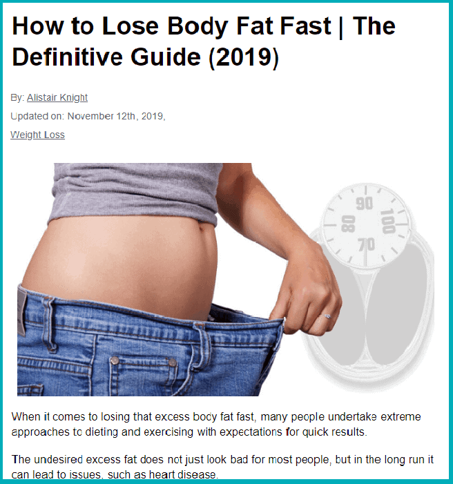 A screenshot of the most recent post: How to lose body fat fast. Also contains a clickable link.