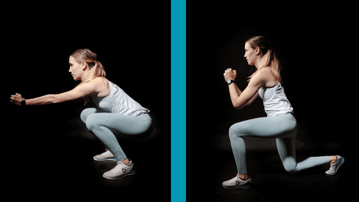 a comparison of a lady squatting (picture on the left) vs a lady lunging (picture on the right)
