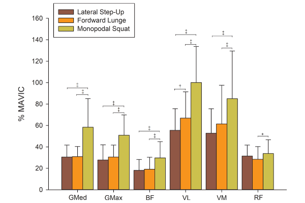 An electromygraphic bar chart presenting lower body activity with three different exercises.