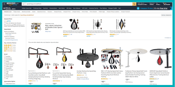 screenshot of speed bag platform and accessories you can get via amazon