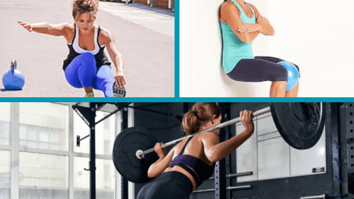 three different squat variations including single-leg, basic, and wall squats.