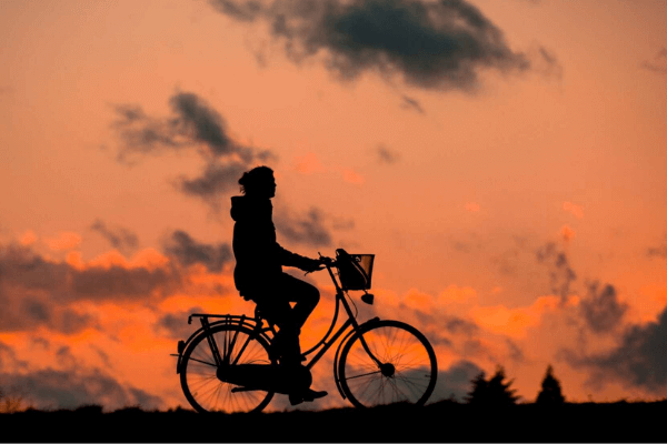 slow cycling during sunset