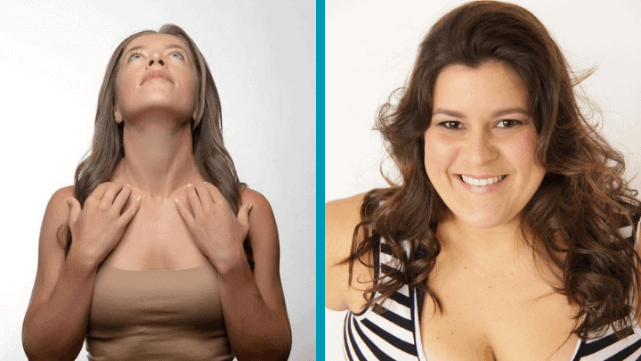 two ladies demonstrating how to lose face fat fast