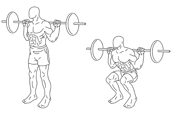 Example of a back squat with two drawn figures