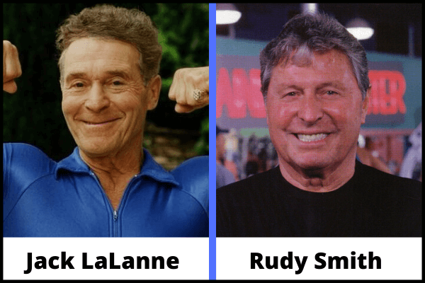 Portrait of Jack LaLanne and Rudy Smith, inventors of the smith machine.