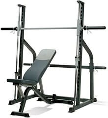 A smith machine with a white background