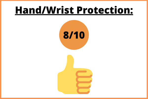 Hand/wrist protection with an illustrated thumb and a rating of eight out of ten