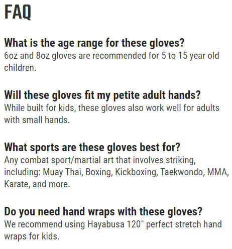 Hayabusa S4 Youth boxing gloves FAQ (frequently asked questions)screenshot