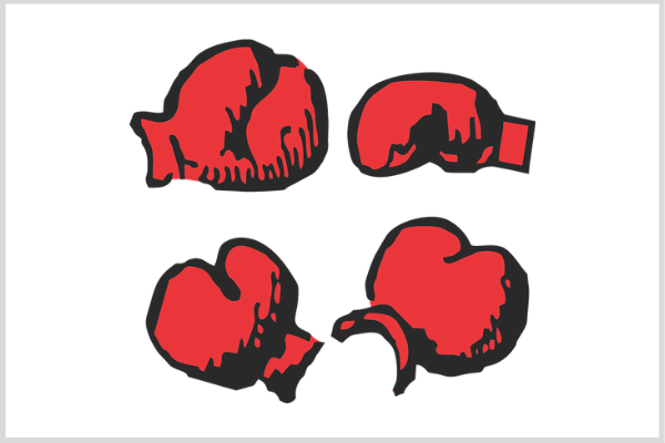 illustration of four classic red boxing gloves
