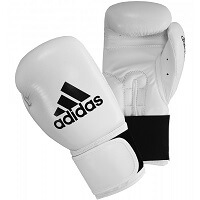 white and black adidas boxing gloves