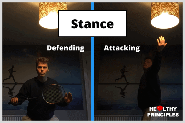 A badminton player demonstrating the defending and attacking stances side by side.