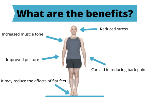 A designed graphic with a bald man performing tadasana and lots of blue arrows pointing towards the man with text that highlights the benefits of mountain pose.