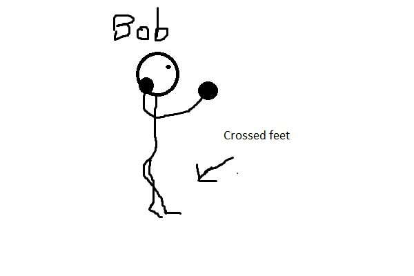 A stickman called Bob moving around with crossed feet.