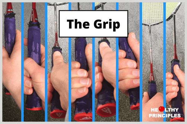 All the different types of badminton grips side by side in one image.