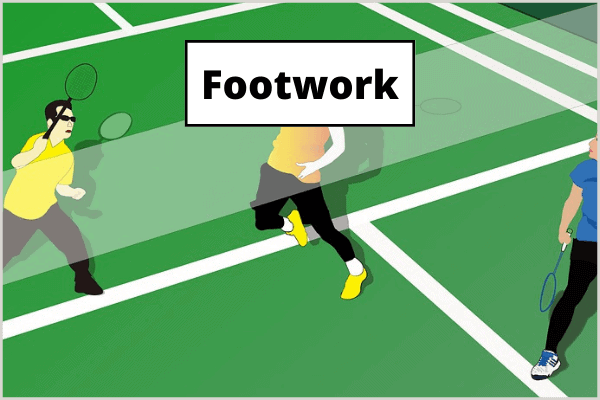 An illustration of a badminton player in all areas of the badminton court, representing good footwork.
