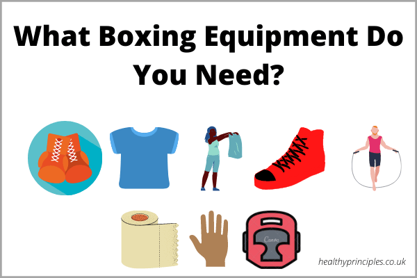 An illustration of every piece of boxing equipment with an overlay saying quote,