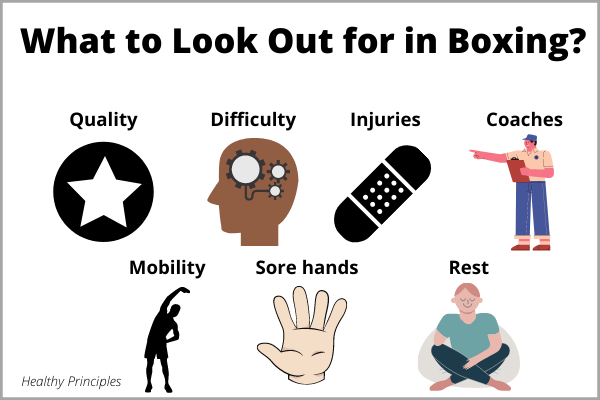 An illustration of everything to look out for in boxing; including the quality of boxing gym, difficulty of sport, injuries, coaches, mobility, sore hands, and rest days.