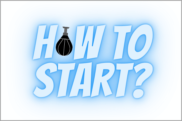 An illustration that reads: 'How to get started in boxing', with a speed bag as a replacement of the, 'o', in how.