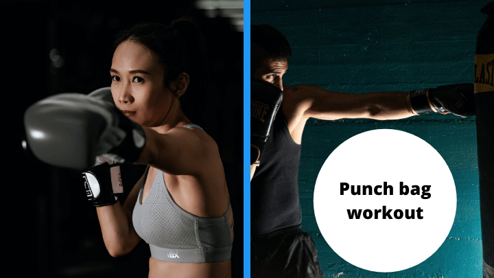 """A male and female boxer side by side with text showing, """"punch bag workout""""."""